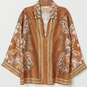 H&M  Orange Parsley Relaxed Fit Blouse Top